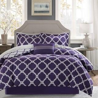 Madison Park Essentials Concord Purple/ Grey Reversible Complete Comforter and Cotton Sheet Set