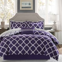 Madison Park Essentials Concord Purple/ Grey Reversible Complete Comforter and Cotton Sheet Set
