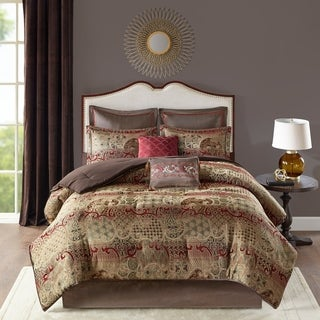 Madison Park Wyeth Red 8 Piece Chenille Jacquard Comforter Set