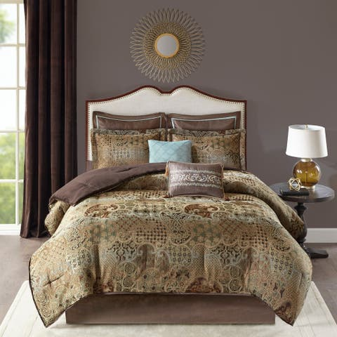 Madison Park Wyeth Spa 8 Piece Chenille Jacquard Comforter Set