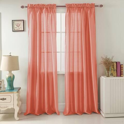 Porch & Den Eads Faux Silk 90-inch Rod Pocket Curtain Panel