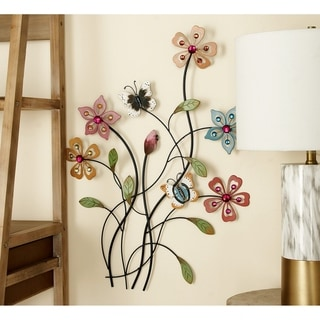 Copper Grove Iris Metal Acrylic Wall Decor 20 Inches Wide, 28 Inches High