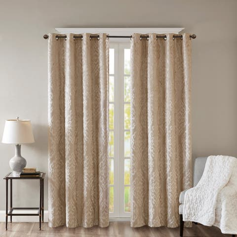 Silver Orchid Genevois Knitted Jacquard Total Blackout Grommet Window Curtain Panel