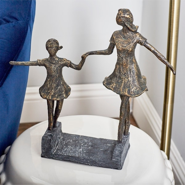 Copper Grove Iris Contemporary Hand-in-hand Sisters Resin Sculpture