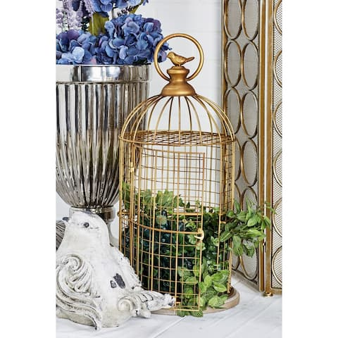 The Curated Nomad Lamartine Traditional Gold-finished Iron/Wood Birdcage