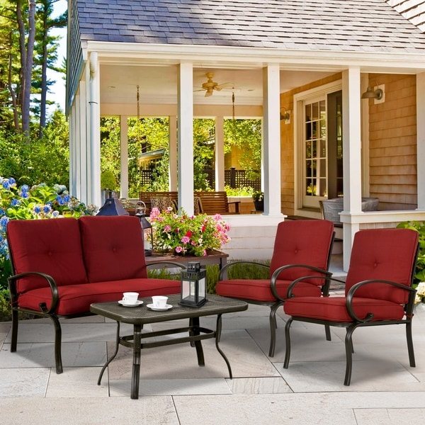 Shop 4 Piece Patio Furniture Set Outdoor Conversation Set