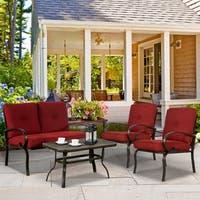 4 Piece Patio Furniture Set Outdoor Conversation Set Cushioned Sofa Set Garden Love Seat Wrought Iron, Brick Red