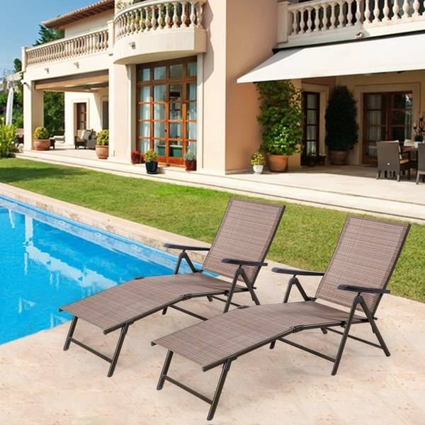 Shop Tan Outdoor Lounge Chair Set Of 2 Free Shipping