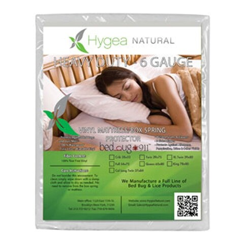 """Hygea 6 Gauge Vinyl Bed Bug Mattress and Box Spring Cover - Twin Size 39""""x75""""x9"""""""