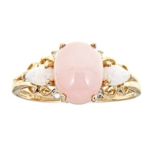 14K Yellow Gold Pink Opal, Australian Opal And Diamond Ring by Anika and August