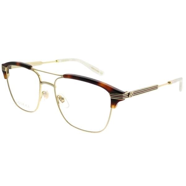 191aa08109d Gucci Rectangle GG 0241O 001 Unisex Gold Light Havana Frame Eyeglasses