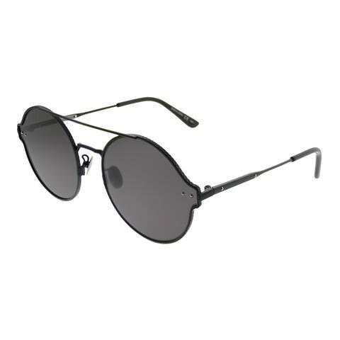 Bottega Veneta Round BV 0141S 001 Unisex Black Frame Grey Lens Sunglasses