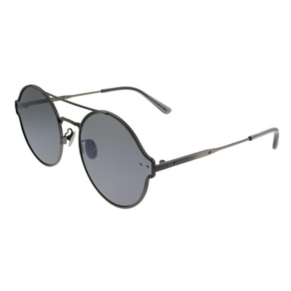 28eed8c362b51 Bottega Veneta Round BV 0141S 002 Unisex Silver Frame Silver Mirror Lens  Sunglasses