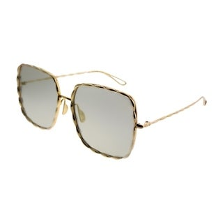 Elie Saab Square ES 003/S Chaine J5G JO Women Gold Plated Frame Bronze Mirror Zeiss Lens Sunglasses