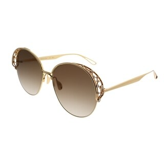 Elie Saab Round ES 006/S Diamant 01Q VU Women Gold Plated Brown Frame Gold Mirror Gradient Zeiss Lens Sunglasses