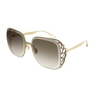 Elie Saab Square ES 005/S Diamant 01Q VU Women Gold Plated Brown Frame Gold Mirror Gradient Zeiss Lens Sunglasses