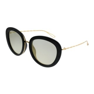 Elie Saab Cat-Eye ES 007/S Chaine 2M2 JO Women Black Gold Plated Frame Bronze Mirror Zeiss Lens Sunglasses