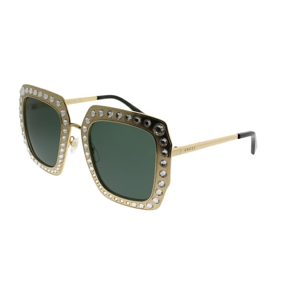 86f58b20007 Gucci Square GG 0115S 006 Women Gold Crystals Frame Green Lens Sunglasses