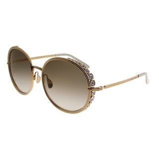 Elie Saab Round ES 016/S Vague 01Q VU Women Gold Plated Brown Frame Gold Mirror Gradient Zeiss Lens Sunglasses