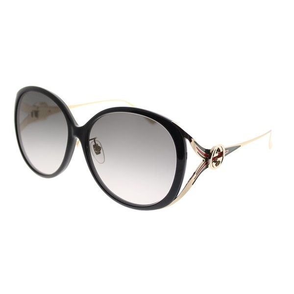 a9913fbaae Gucci Round GG 0226 001 Women Black Frame Grey Gradient Lens Sunglasses