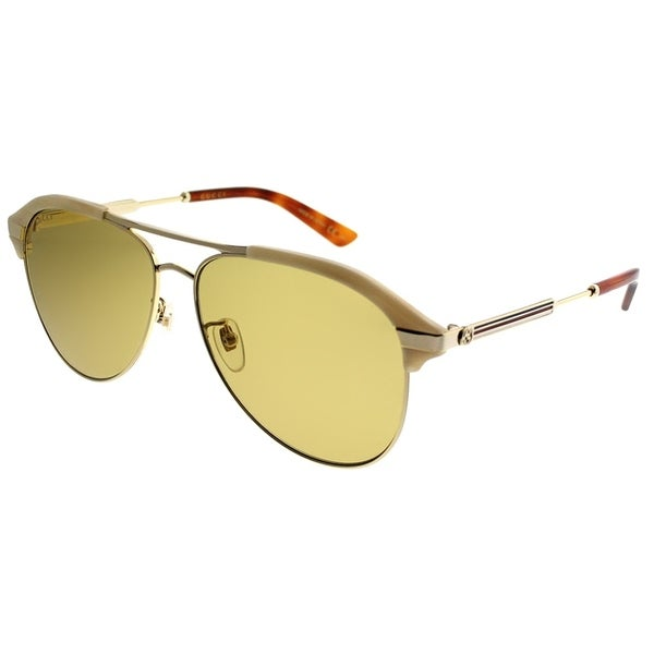 1bd89f5bc9f Gucci Aviator GG 0288SA 004 Unisex Beige Gold Frame Brown Lens Sunglasses