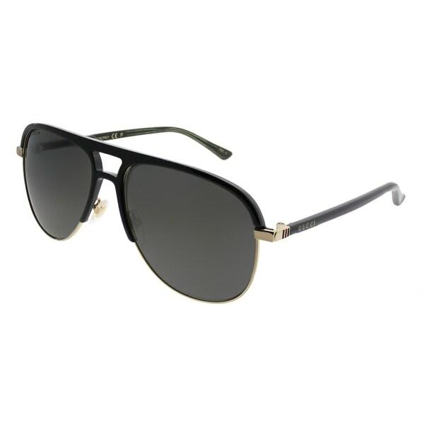 5c6d36f970 Gucci Aviator GG 0292S 002 Unisex Black Frame Grey Polarized Lens Sunglasses