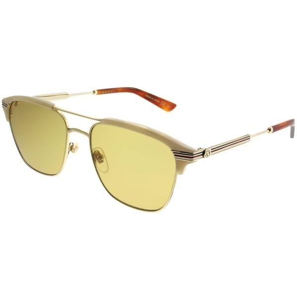 c6c2faea68e Gucci Rectangle GG 0241S 004 Unisex Gold Beige Frame Brown Lens Sunglasses