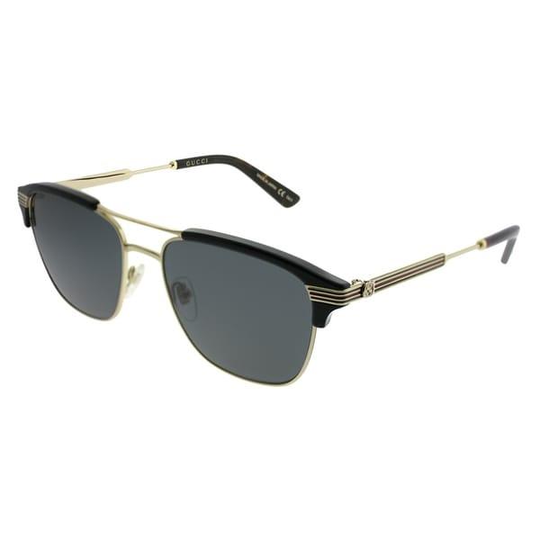 3977be67b09 Gucci Rectangle GG 0241S 002 Unisex Gold Black Frame Grey Lens Sunglasses