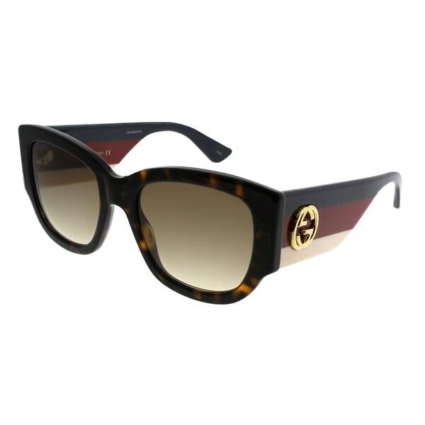58359eafa5a Gucci Square GG 0276S 002 Women Havana Frame Brown Gradient Lens Sunglasses