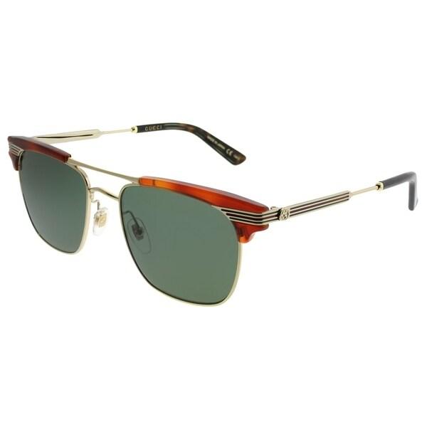 2b2900f5306 Gucci Square GG 0287S 004 Unisex Havana Gold Frame Green Lens Sunglasses
