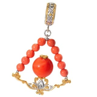 Michael Valitutti Palladium Silver Salmon Coral Beaded Drop Charm - Pink