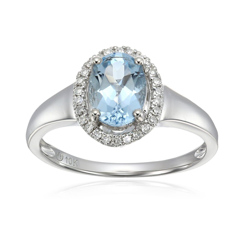 Shop Pinctore 10k Wt Gold Aquamarine Diamond Princess Diana Engagement Ring On Sale Overstock 21185011