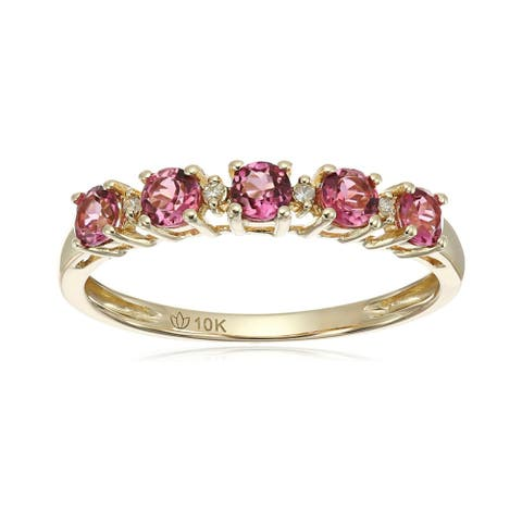10kt Yellow Gold Pink Tourmaline & Diamond Accent Stack Ring Size - 7