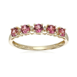Pinctore 10k Yellow Gold Pink Tourmaline & Diamond Accented Stackable Ring