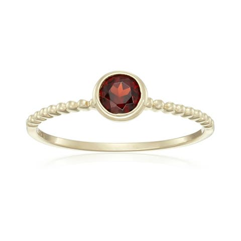 10k Yellow Gold Red Garnet Solitaire Beaded Shank Stackable Ring