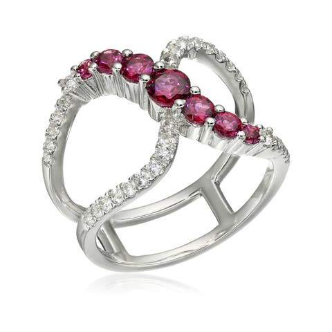 Sterling Silver Rhodolite and Created White Sapphire Ring