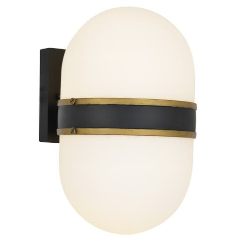 Brian Patrick Flynn-Capsule 2-light Matte Black/ Textured Gold Outdoor Wall Sconce