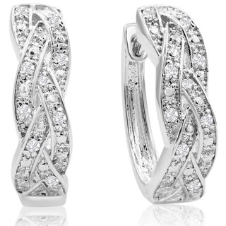 1/4ct TDW Oval Shape Diamond Infinity Hoop Earrings - N/A
