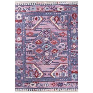 Rizzy Home Arden Loft Collection Kavali Purple Wool Handmade Modern Tribal Area Rug - 7' X 10'