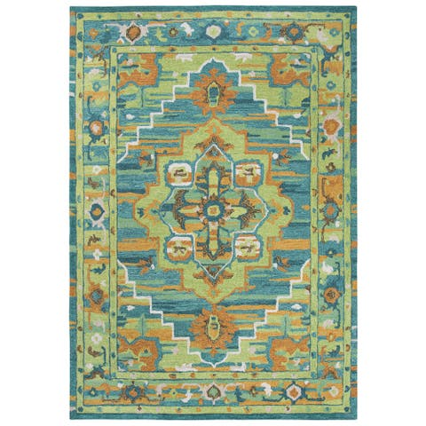 Rizzy Home Arden Loft-Kavali Green/Blue/Brown Wool Center Medallion Area Rug (7' x 10')
