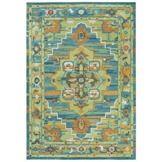 Rizzy Home Arden Loft-Kavali Green/Blue/Brown Wool Center Medallion Area Rug (7' x 10')