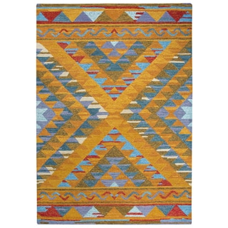 Rizzy Home Arden Loft-Kavali Gold/Blue/Red Wool Geometric Area Rug - 7' x 10'