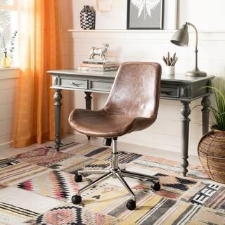 "Safavieh Fletcher Brown/ Chrome Swivel Office Chair - 21.5"" x 25.5"" x 32.2"""
