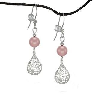 Handmade Jewelry by Dawn Rose Pearl Small Filigree Teardrop Sterling Silver Earrings (USA)