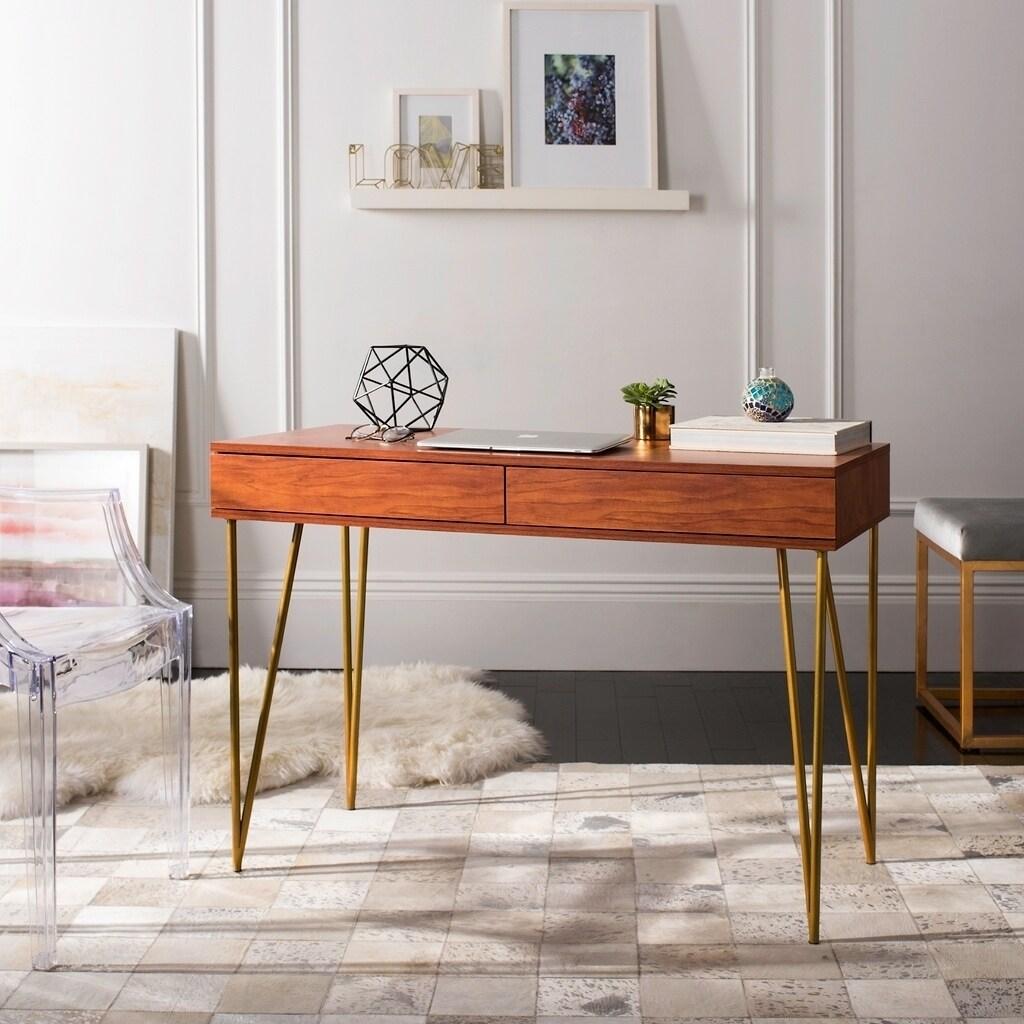 Super Safavieh Pine Natural 2 Drawer Desk Download Free Architecture Designs Scobabritishbridgeorg