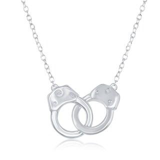 La Preciosa Sterling Silver High Polish Interlocking Handcuff 16+2'' Necklace