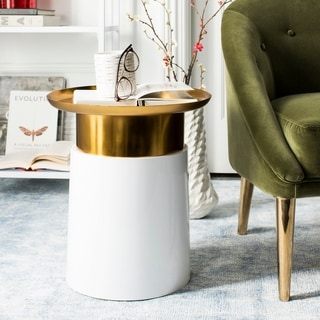 Safavieh Zenith Gold/ White Tray Top Side Table