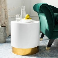 Safavieh Angelo White/ Gold Round Side Table