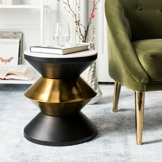 Safavieh Azizi Black/ Gold Stone Top Side Table