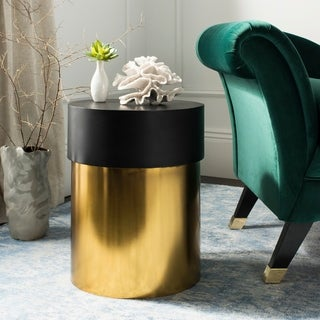 "Safavieh Solstice Black/ Gold Round Side Table - 16"" x 16"" x 20"""